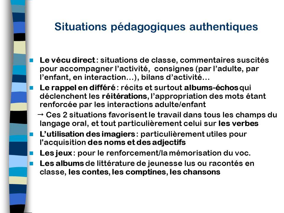 Situations pédagogiques authentiques