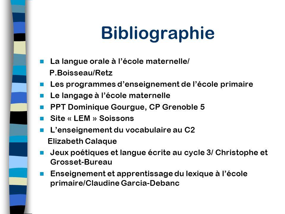 Bibliographie La langue orale à l'école maternelle/ P.Boisseau/Retz