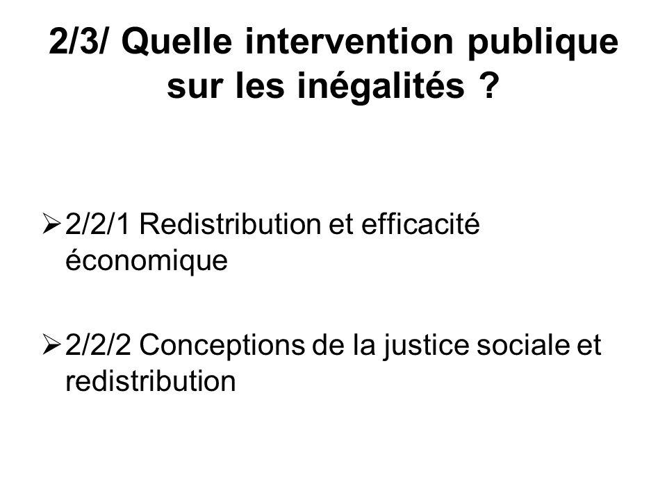 2/3/ Quelle intervention publique sur les inégalités