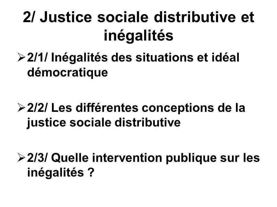 2/ Justice sociale distributive et inégalités