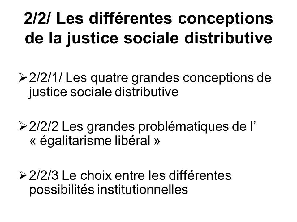2/2/ Les différentes conceptions de la justice sociale distributive