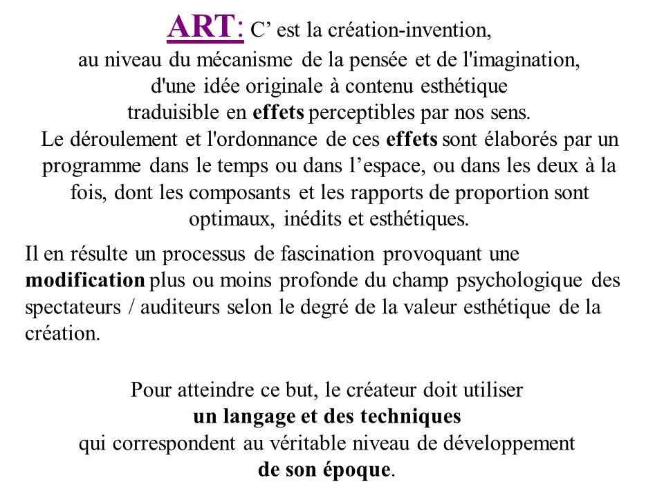 ART: C' est la création-invention, au niveau du mécanisme de la pensée et de l imagination, d une idée originale à contenu esthétique traduisible en effets perceptibles par nos sens.