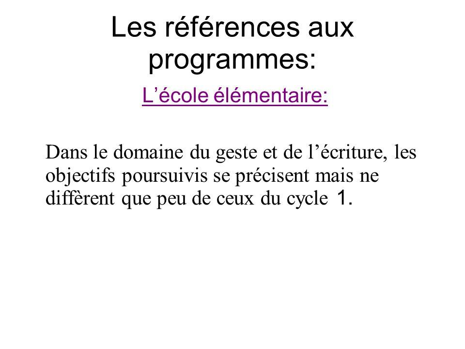 Les références aux programmes: