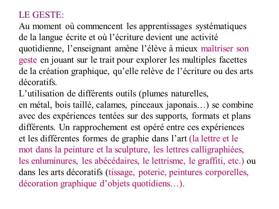 LE GESTE: Au moment où commencent les apprentissages systématiques. de la langue écrite et où l'écriture devient une activité.