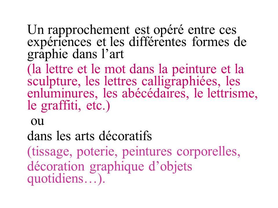 Un rapprochement est opéré entre ces expériences et les différentes formes de graphie dans l'art