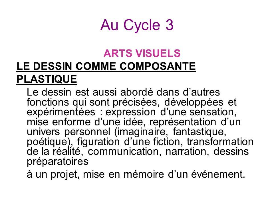 Au Cycle 3 ARTS VISUELS LE DESSIN COMME COMPOSANTE PLASTIQUE