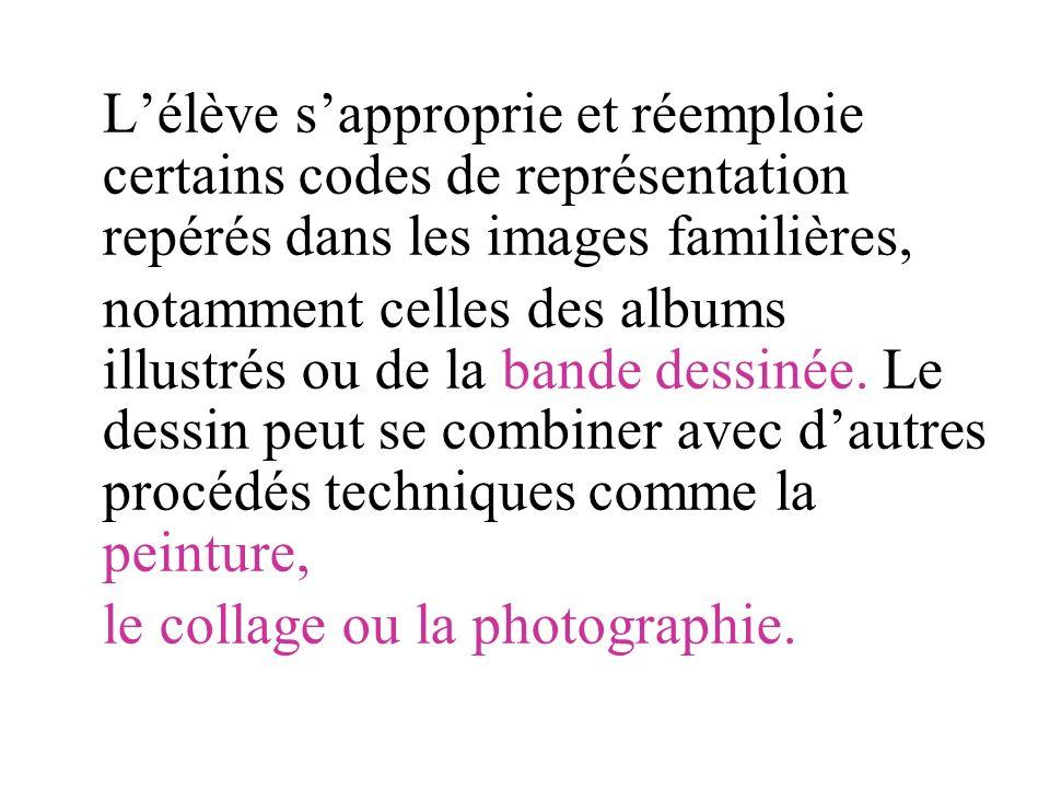 L'élève s'approprie et réemploie certains codes de représentation repérés dans les images familières,