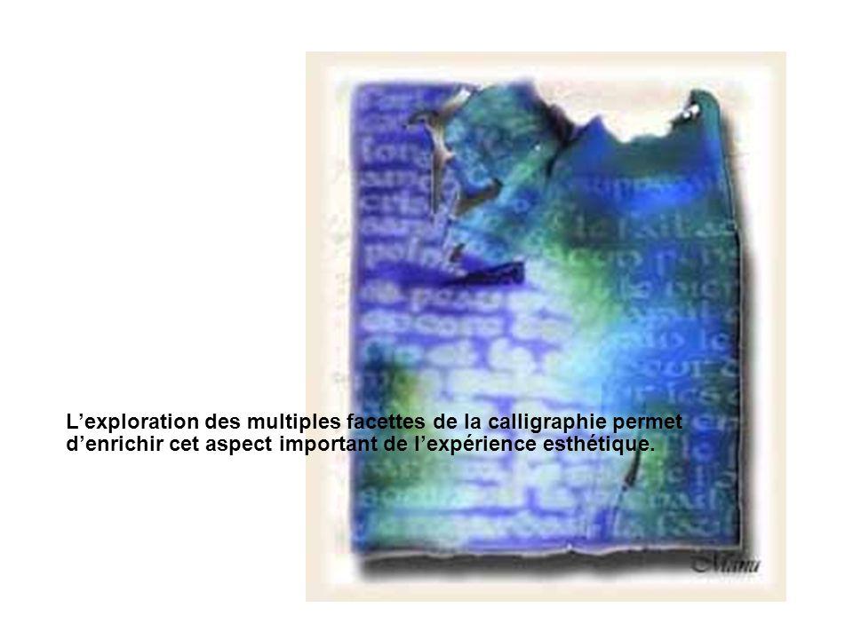 L'exploration des multiples facettes de la calligraphie permet