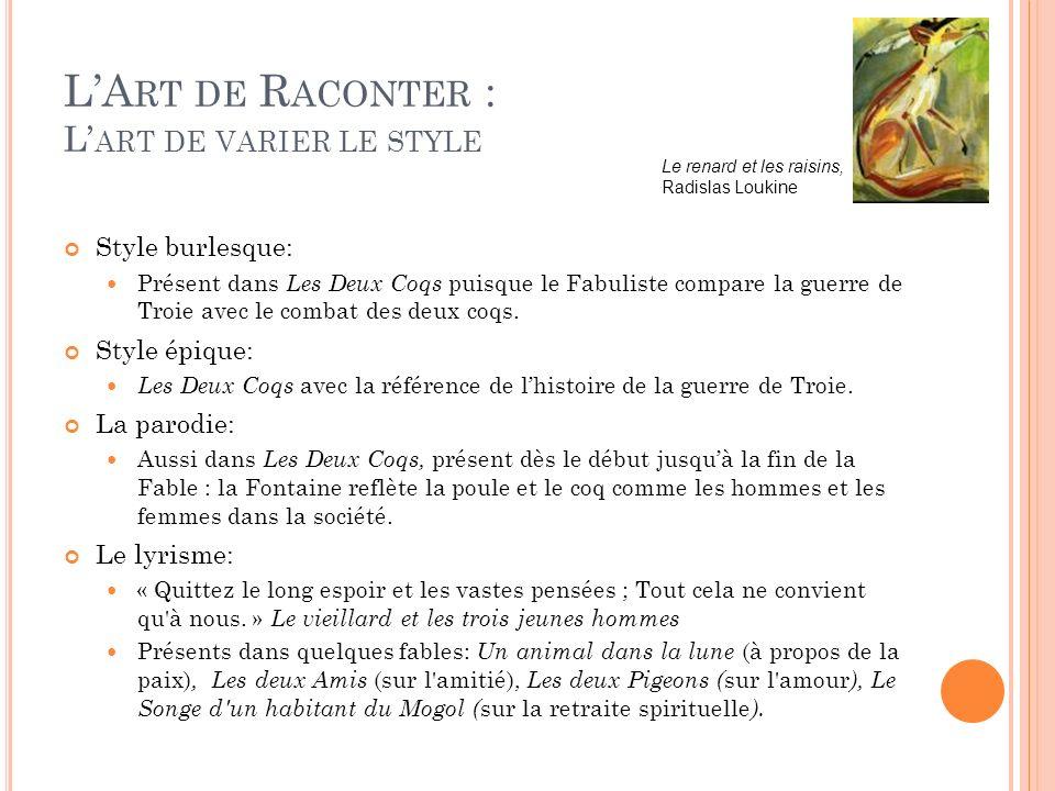 L'Art de Raconter : L'art de varier le style