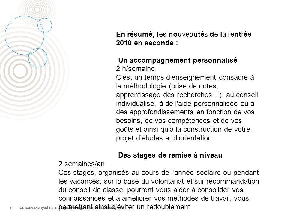 En résumé, les nouveautés de la rentrée 2010 en seconde :