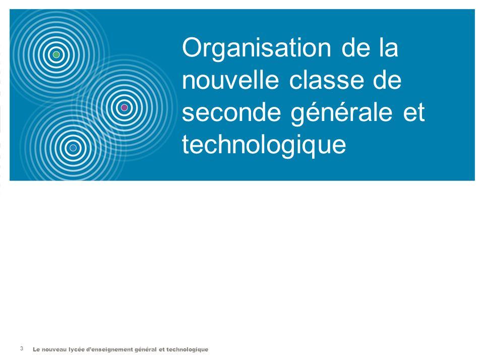 Organisation de la nouvelle classe de seconde générale et technologique