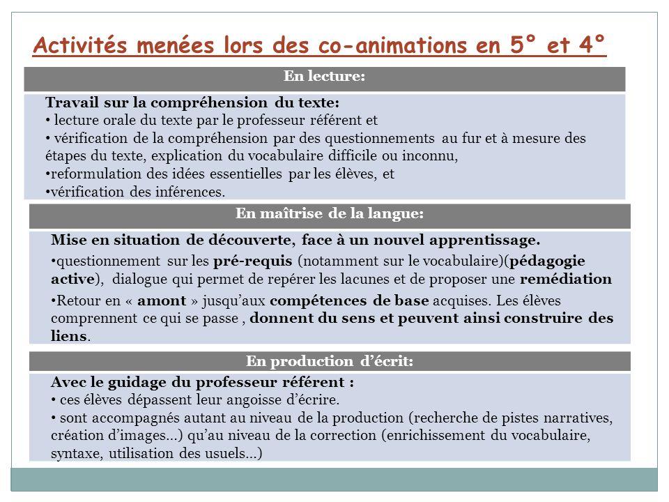 Activités menées lors des co-animations en 5° et 4°