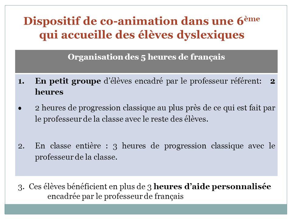 Organisation des 5 heures de français