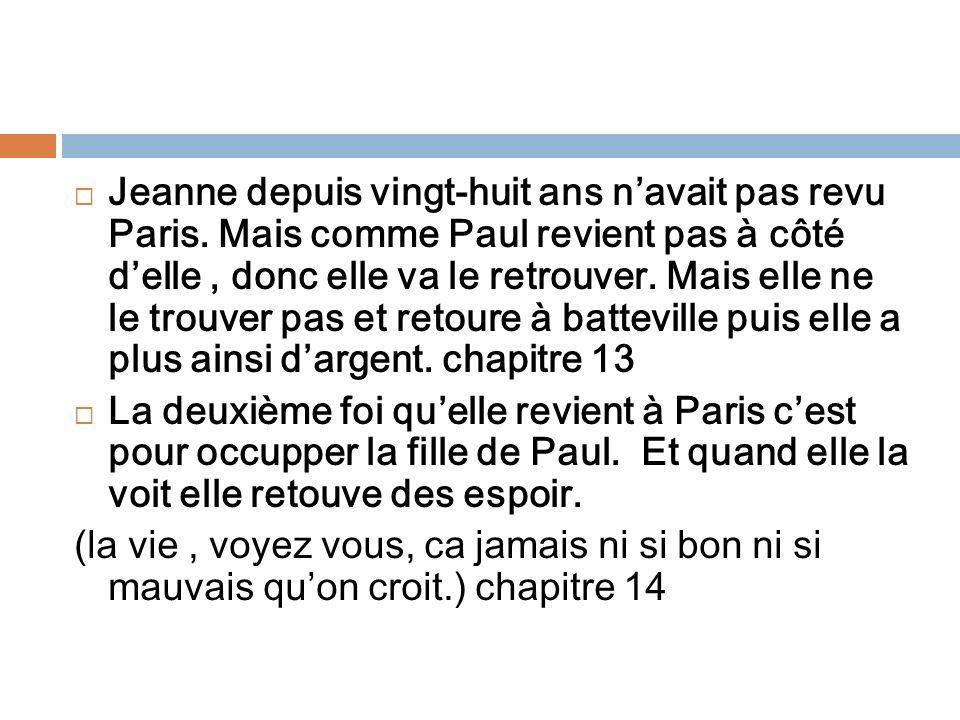 Jeanne depuis vingt-huit ans n'avait pas revu Paris