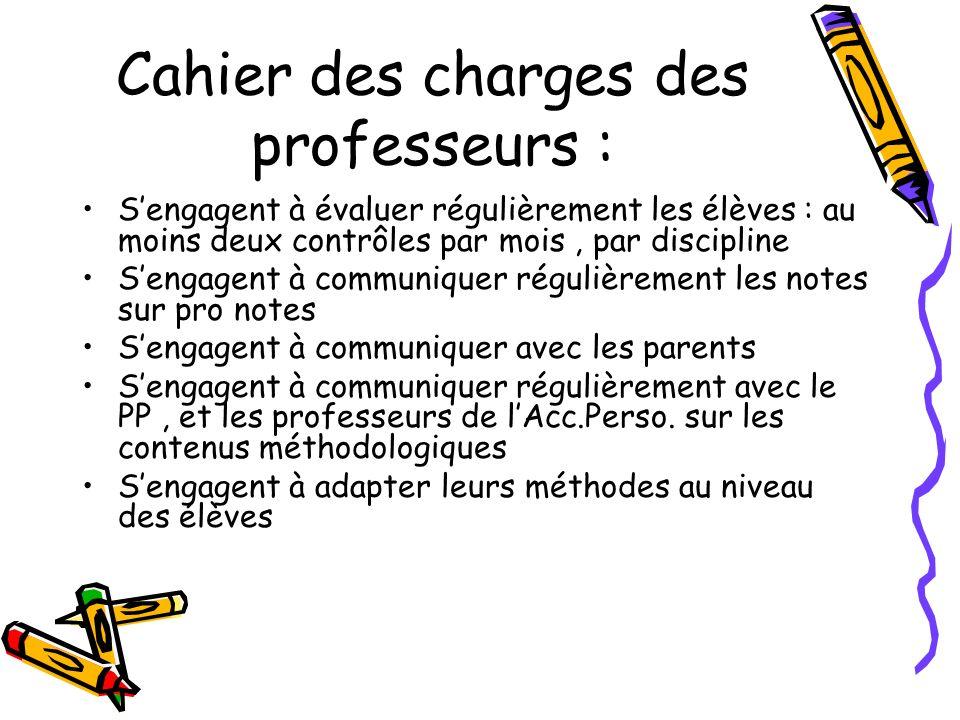 Cahier des charges des professeurs :