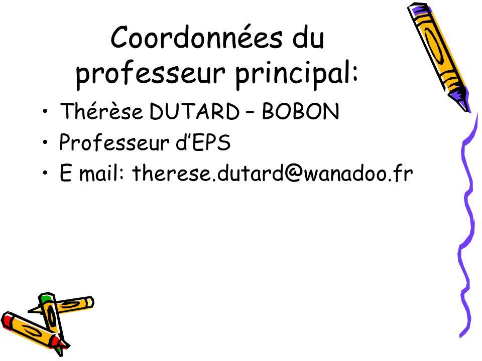 Coordonnées du professeur principal: