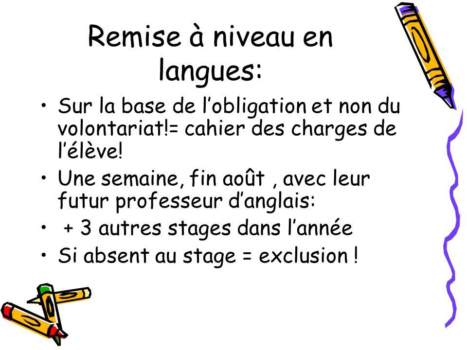 Remise à niveau en langues: