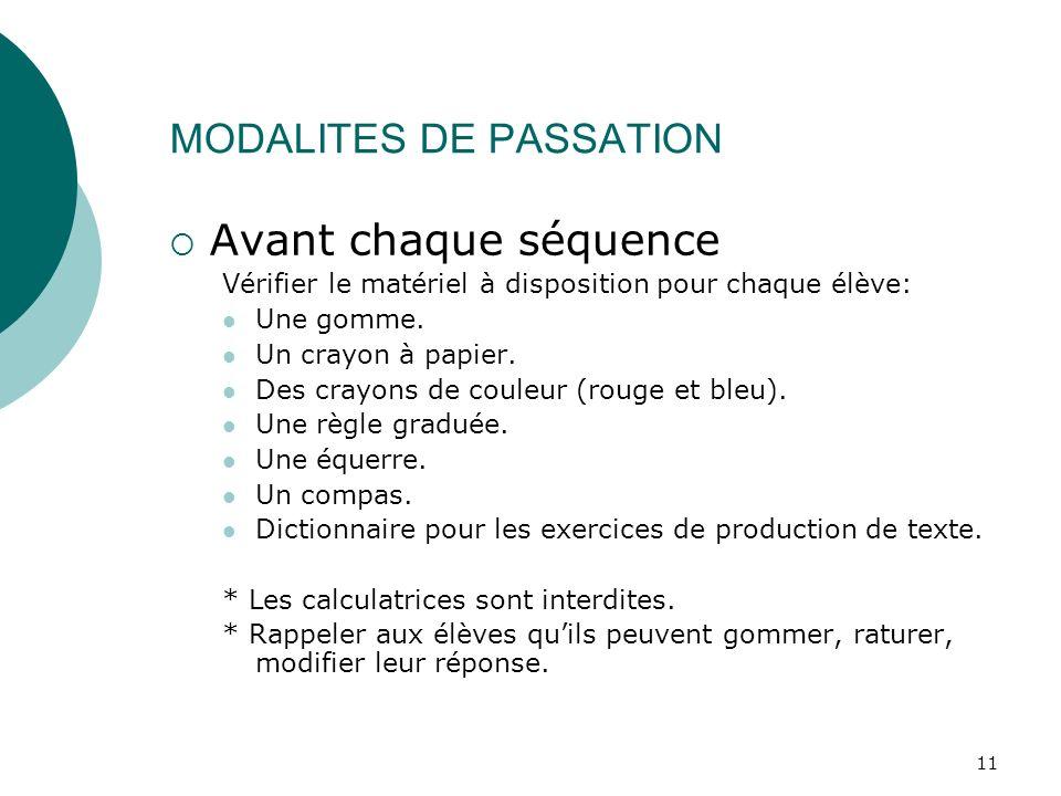 MODALITES DE PASSATION