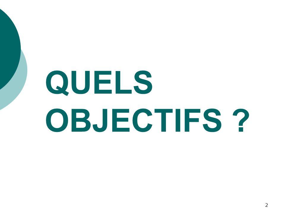 QUELS OBJECTIFS