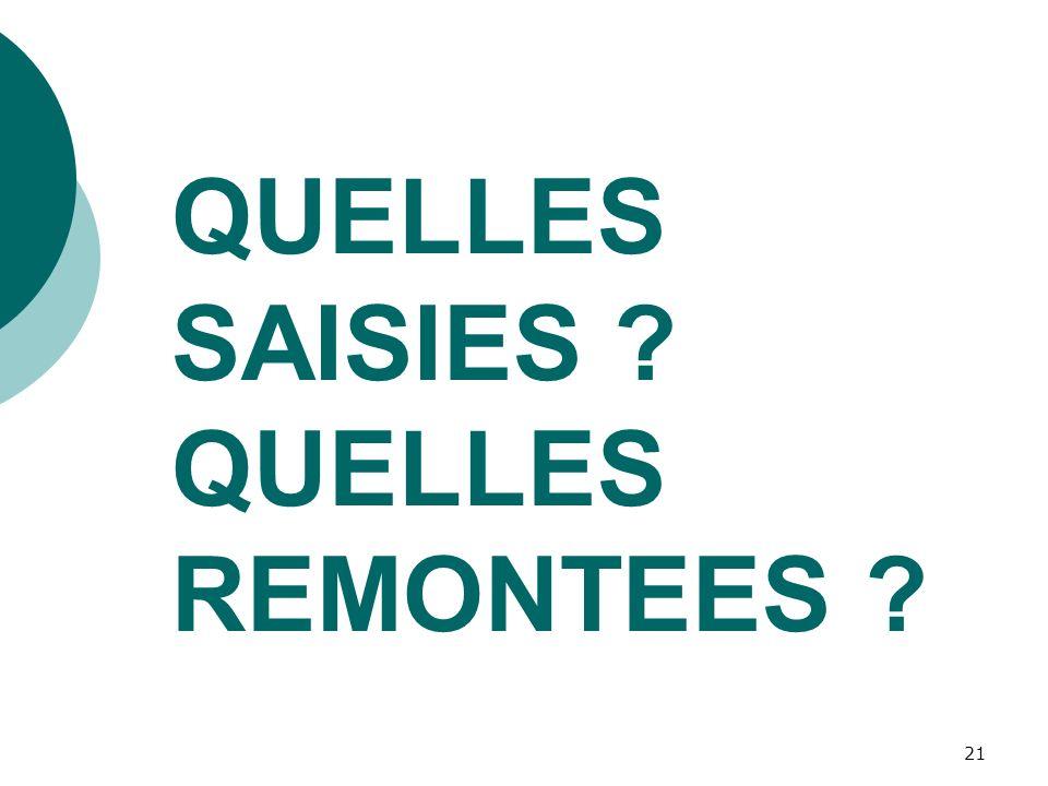 QUELLES SAISIES QUELLES REMONTEES
