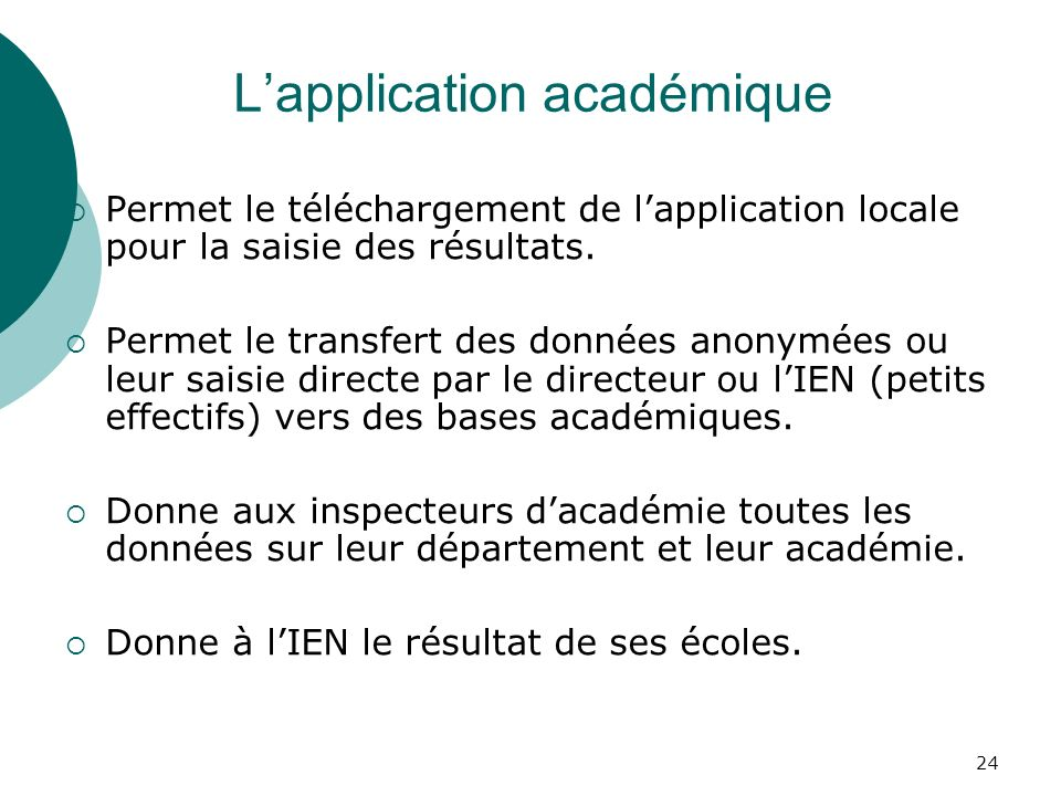 L'application académique