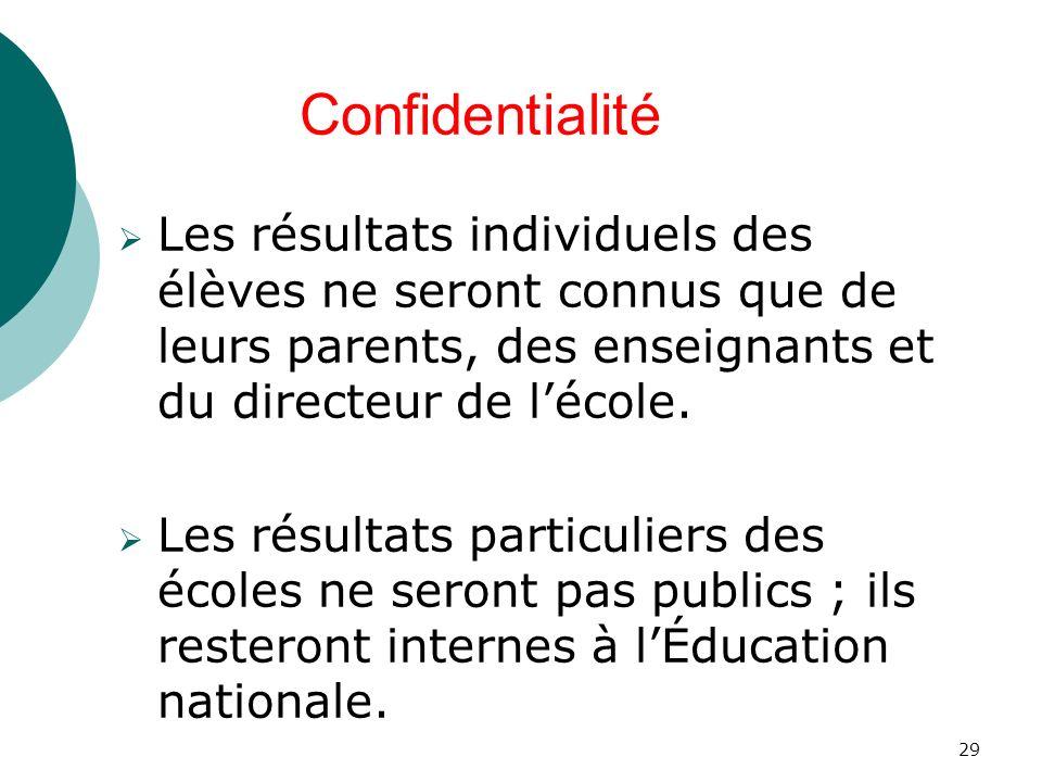 Confidentialité Les résultats individuels des élèves ne seront connus que de leurs parents, des enseignants et du directeur de l'école.