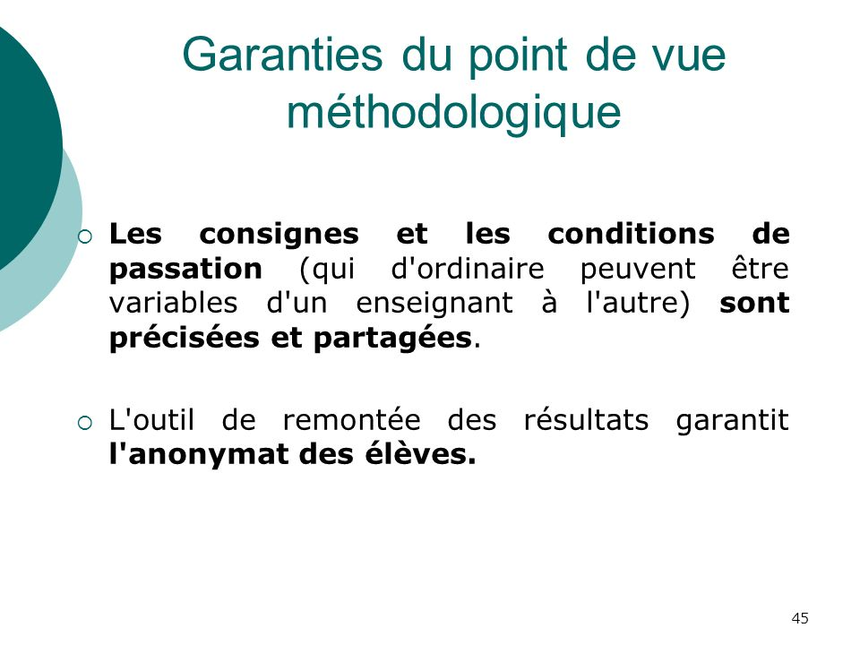 Garanties du point de vue méthodologique