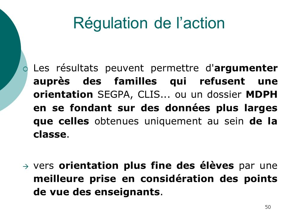 Régulation de l'action
