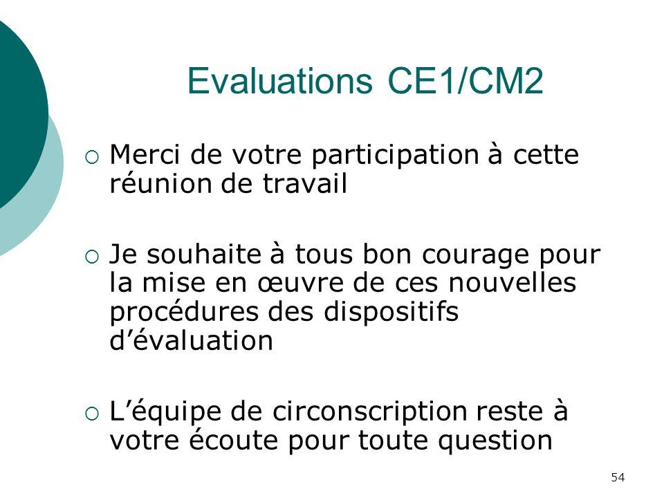 Evaluations CE1/CM2 Merci de votre participation à cette réunion de travail.