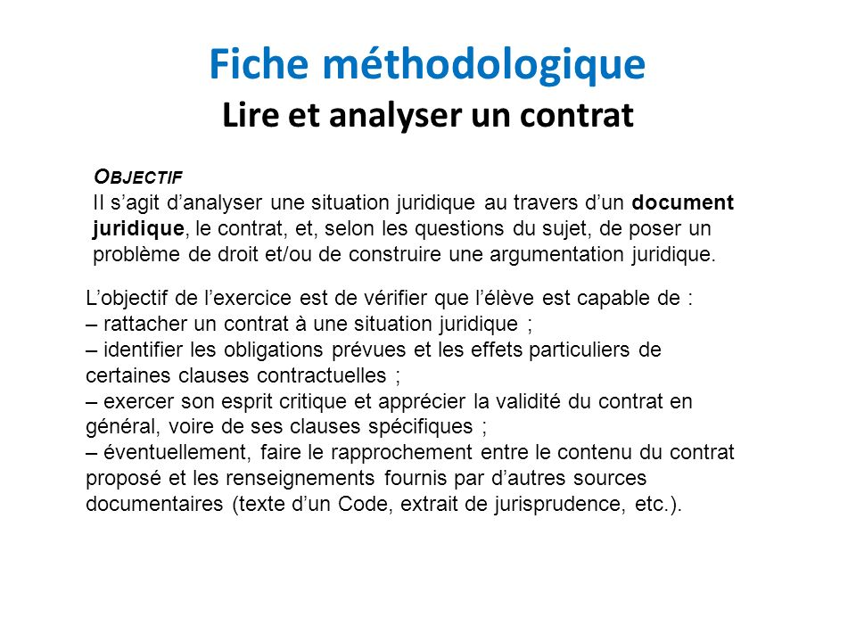 Fiche méthodologique Lire et analyser un contrat
