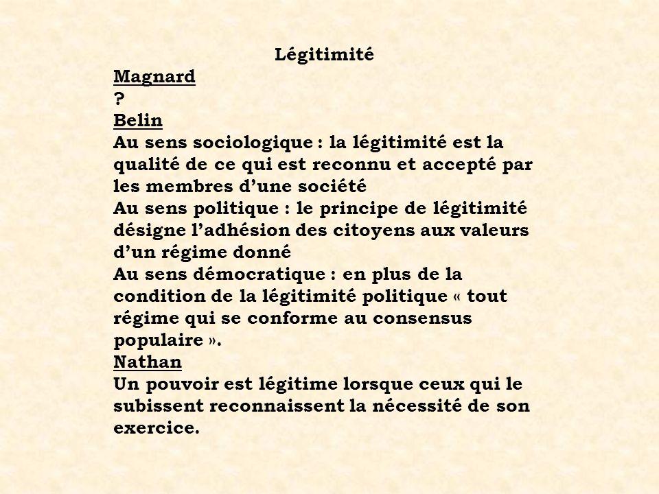 Légitimité Magnard. Belin. Au sens sociologique : la légitimité est la qualité de ce qui est reconnu et accepté par les membres d'une société.