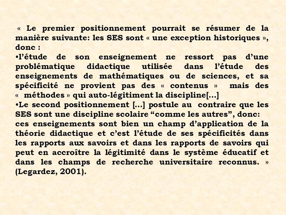 « Le premier positionnement pourrait se résumer de la manière suivante: les SES sont « une exception historiques », donc :