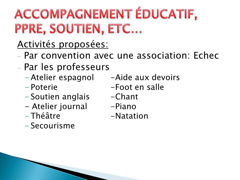 Accompagnement éducatif, PPRE, soutien, etc…