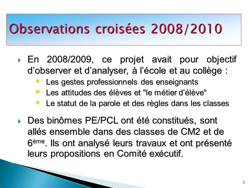 Observations croisées 2008/2010