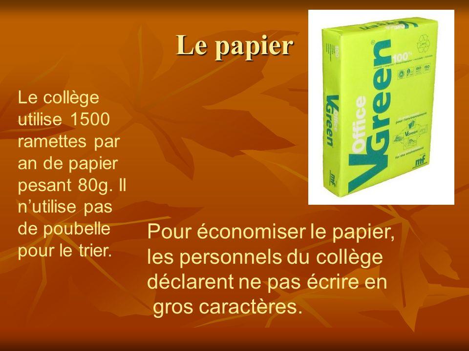 Le papier Le collège utilise 1500 ramettes par an de papier pesant 80g. Il n'utilise pas de poubelle pour le trier.