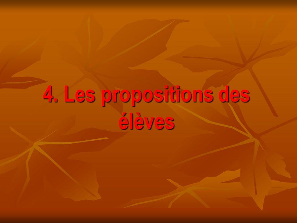 4. Les propositions des élèves