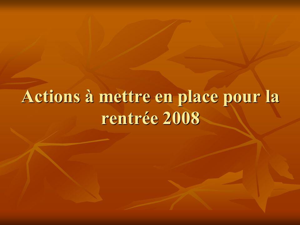 Actions à mettre en place pour la rentrée 2008