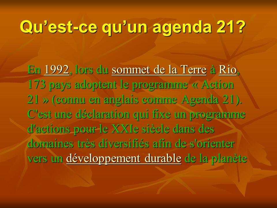 Qu'est-ce qu'un agenda 21