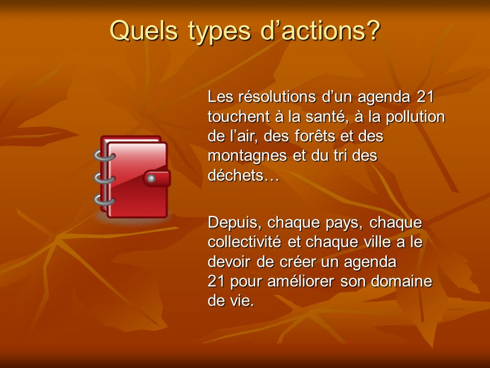 Quels types d'actions