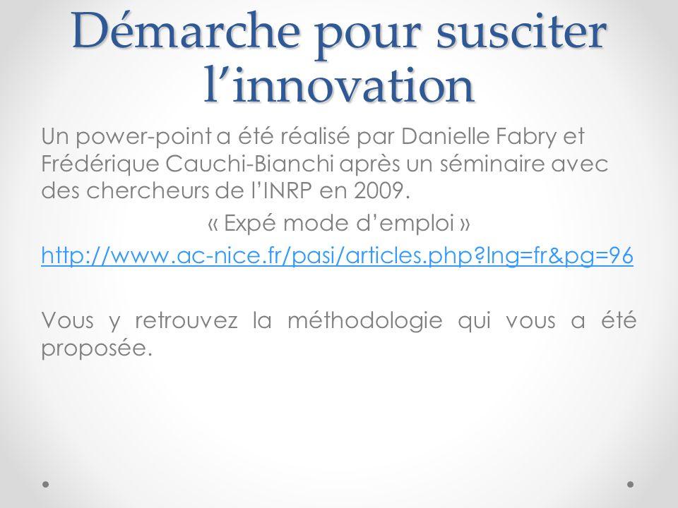 Démarche pour susciter l'innovation