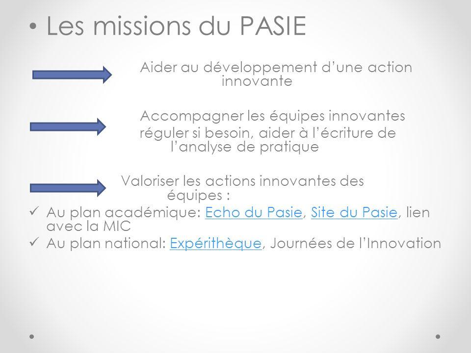 Les missions du PASIE Aider au développement d'une action innovante