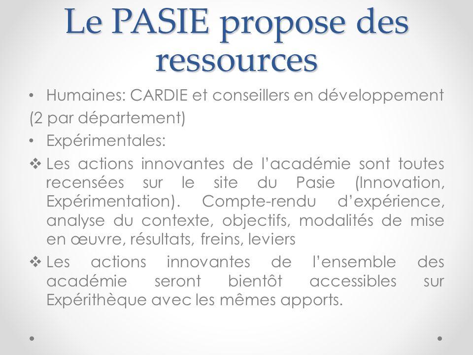Le PASIE propose des ressources