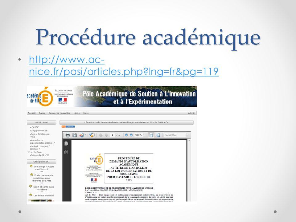 Procédure académique http://www.ac-nice.fr/pasi/articles.php lng=fr&pg=119