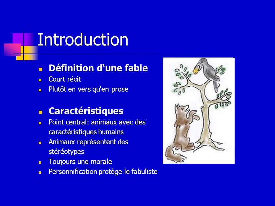 Introduction Définition d'une fable Caractéristiques Court récit