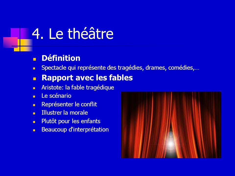 4. Le théâtre Définition Rapport avec les fables