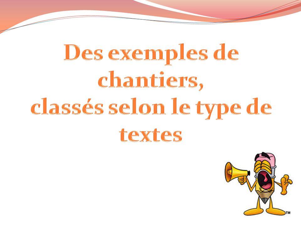 Des exemples de chantiers, classés selon le type de textes