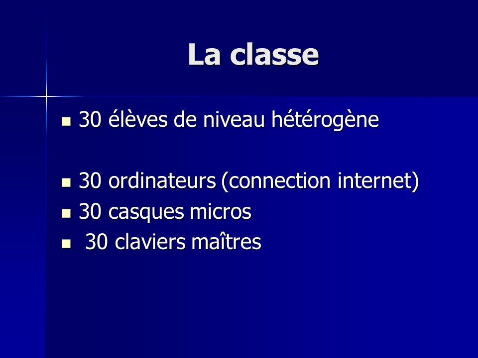 La classe 30 élèves de niveau hétérogène