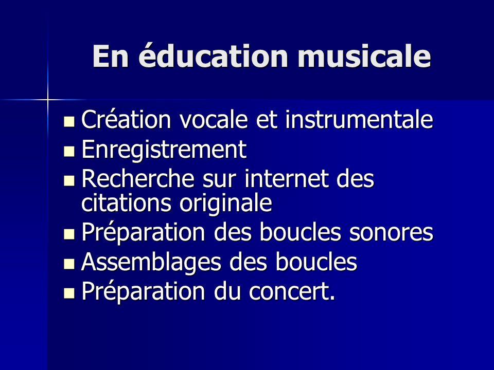 En éducation musicale Création vocale et instrumentale Enregistrement