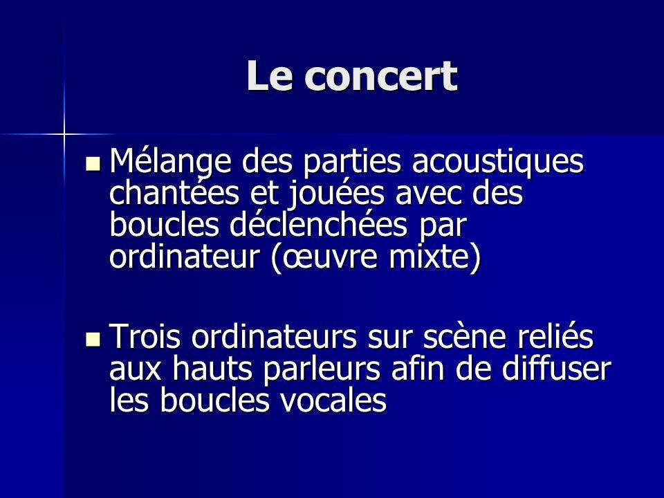Le concert Mélange des parties acoustiques chantées et jouées avec des boucles déclenchées par ordinateur (œuvre mixte)