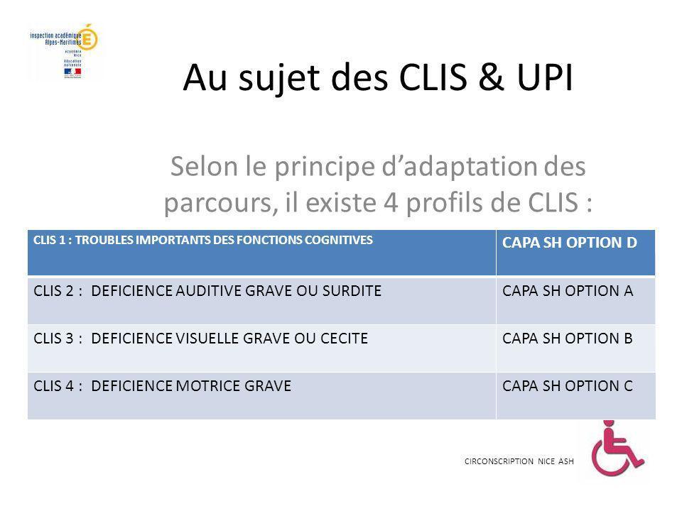 Au sujet des CLIS & UPI Selon le principe d'adaptation des parcours, il existe 4 profils de CLIS :